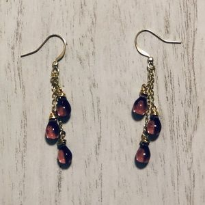 Purple Glass Triple Dangle Earrings